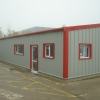 Steel Framed Building with red trims