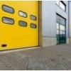 warehouse with yellow doors